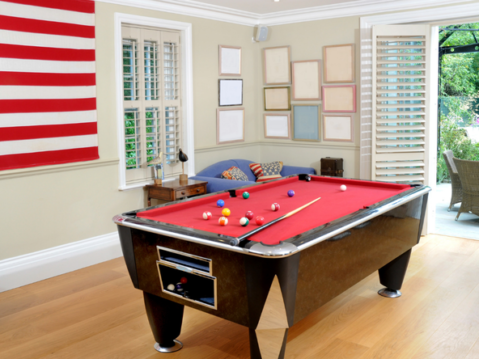 Newly set up pool table