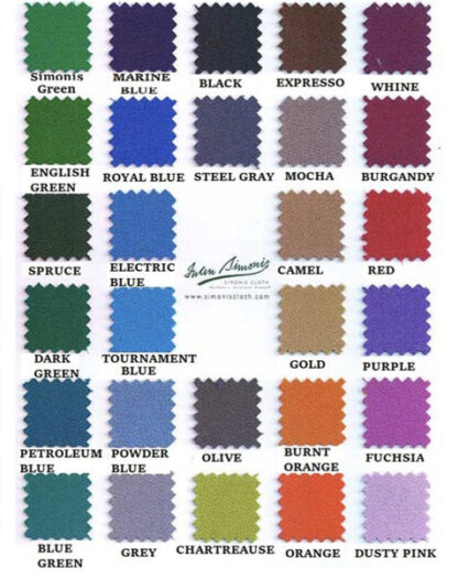 Pool table felt replacement color options