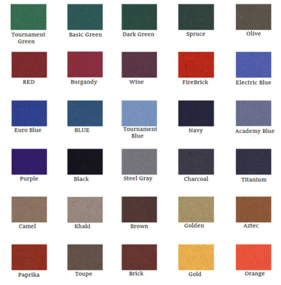 pool table felt replacement colors
